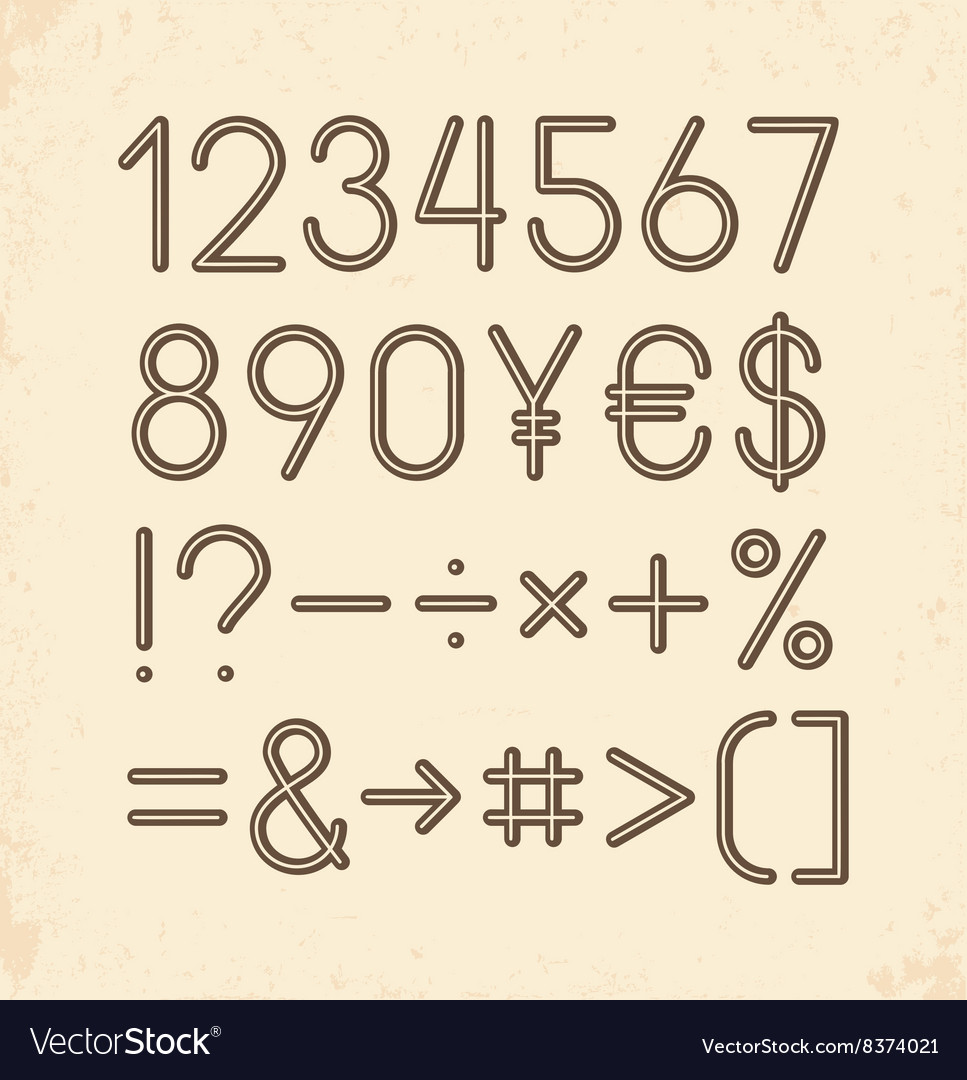 Set  numbers and other symbols retro typography vector