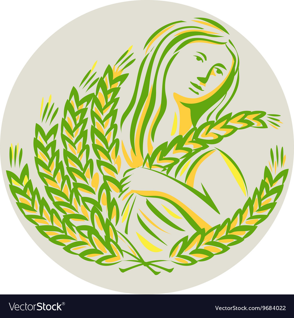Demeter harvest wheat grain circle retro vector