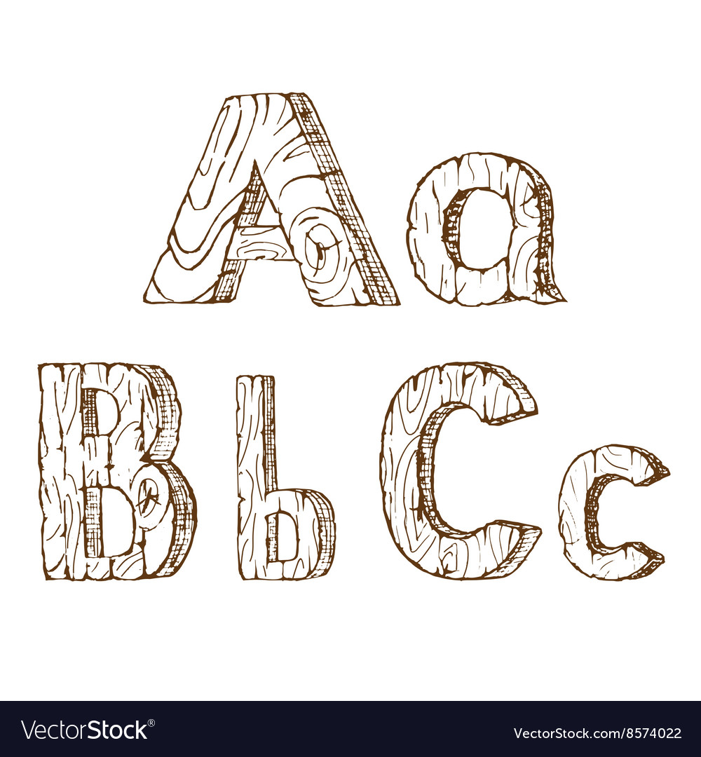Handdrawn wooden alphabet a b c vector