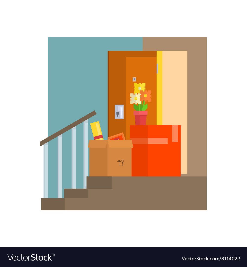 Staircase with half painted wall vector