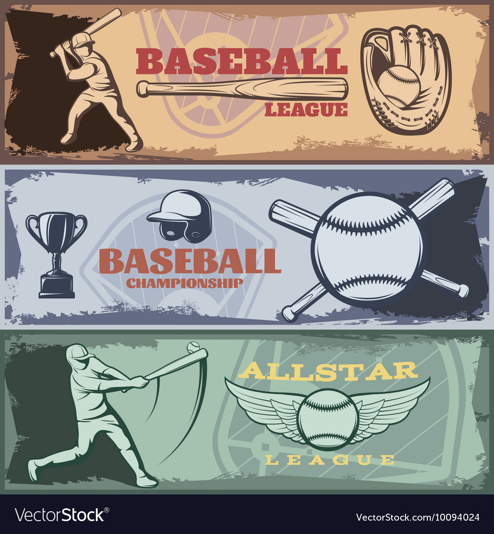 Baseball tournaments horizontal banners set vector