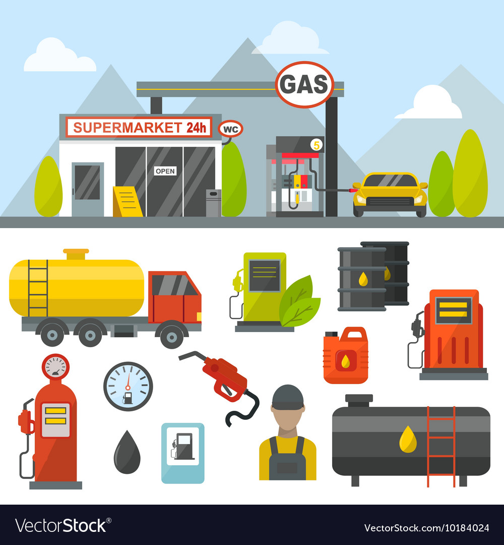 Gas oil station set vector