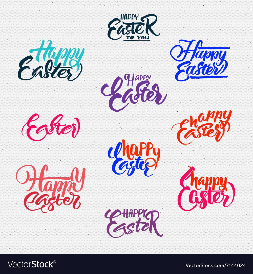 Happy easter  typographic calligraphic lettering vector