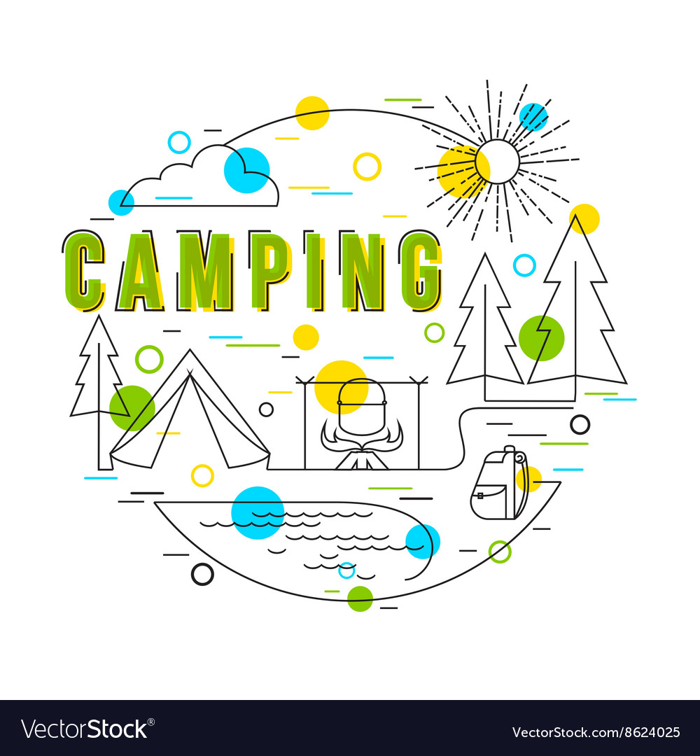Camping background with icons and elements vector