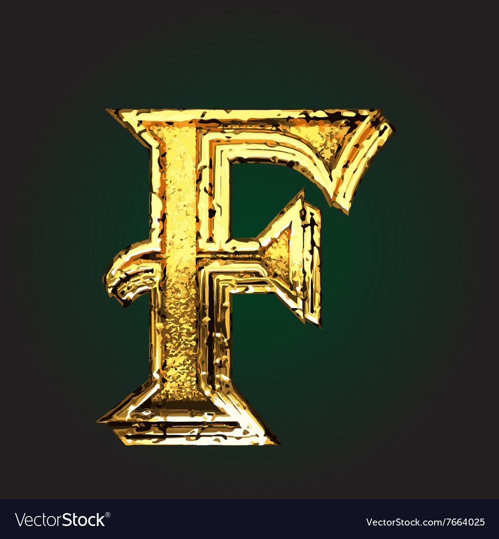 F golden letter vector