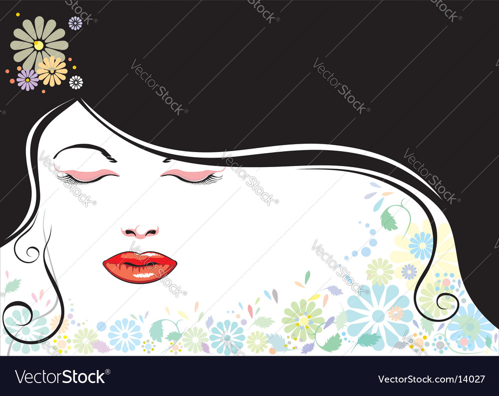 Beautiful girl and black hair vector