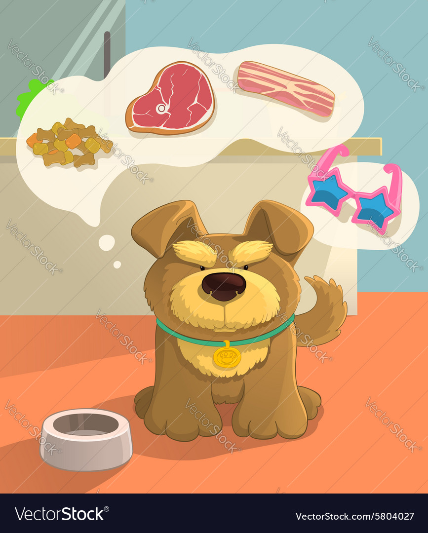 Cute brown doggy and food vector