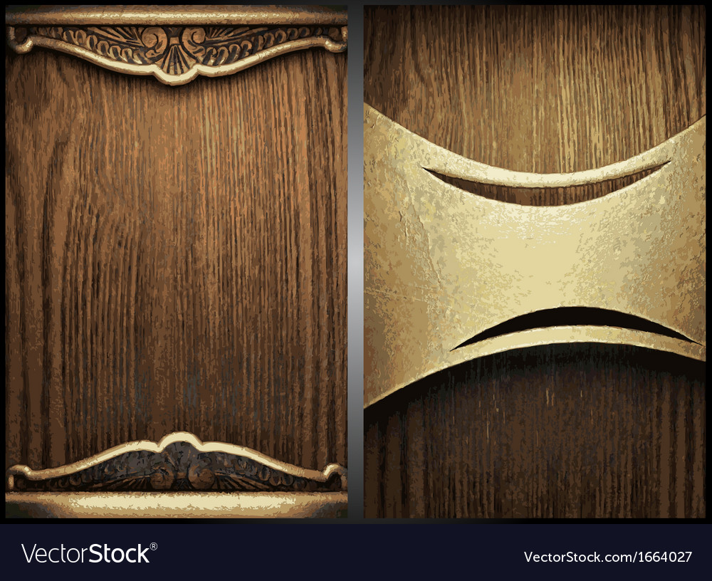 Wood and gold background set vector