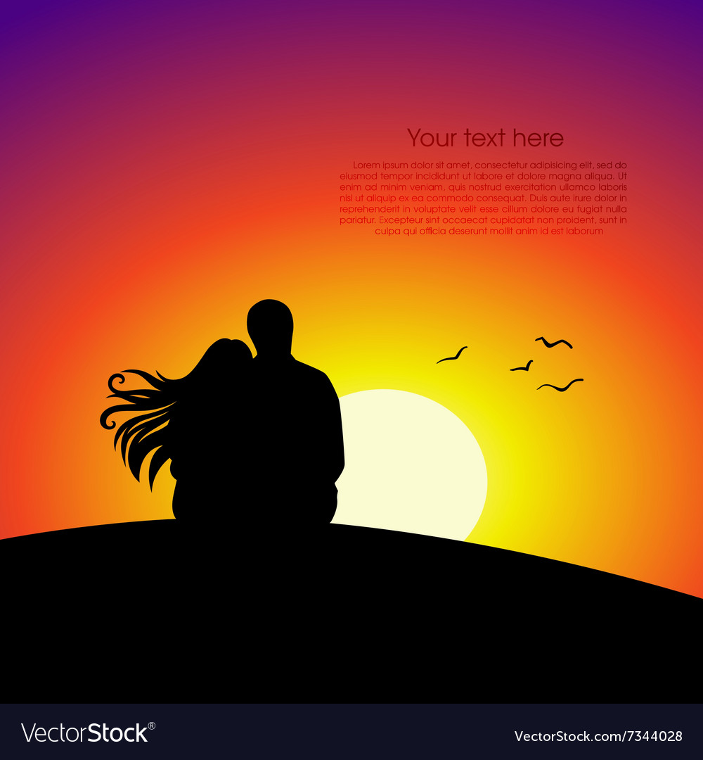Black couple silhouettes in front of sunset vector