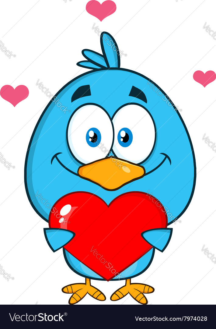 Cute bird holding a love heart cartoon vector