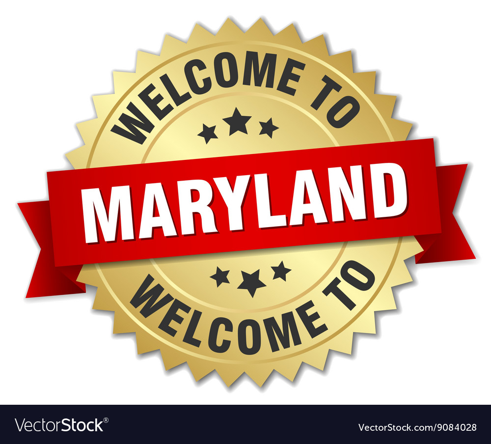 Maryland 3d gold badge with red ribbon vector