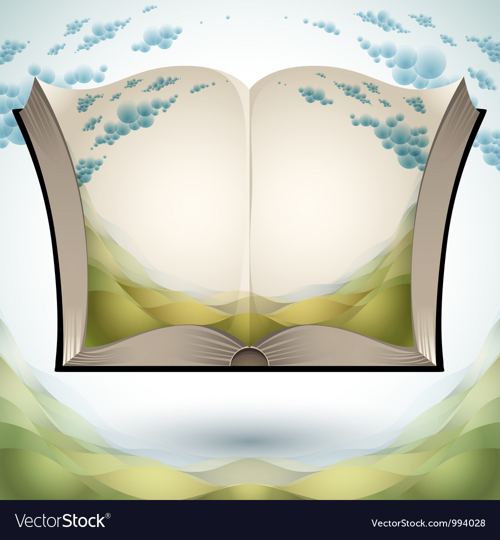 Open book with nature landscape vector