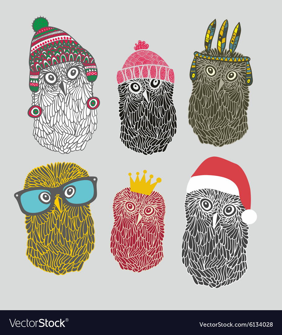 Set of cute owls in costumes vector