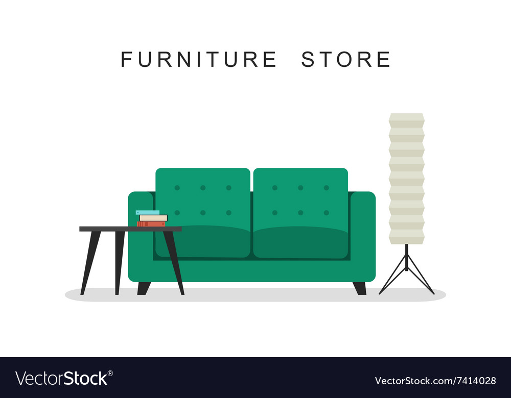 Sofa with table and lamp vector