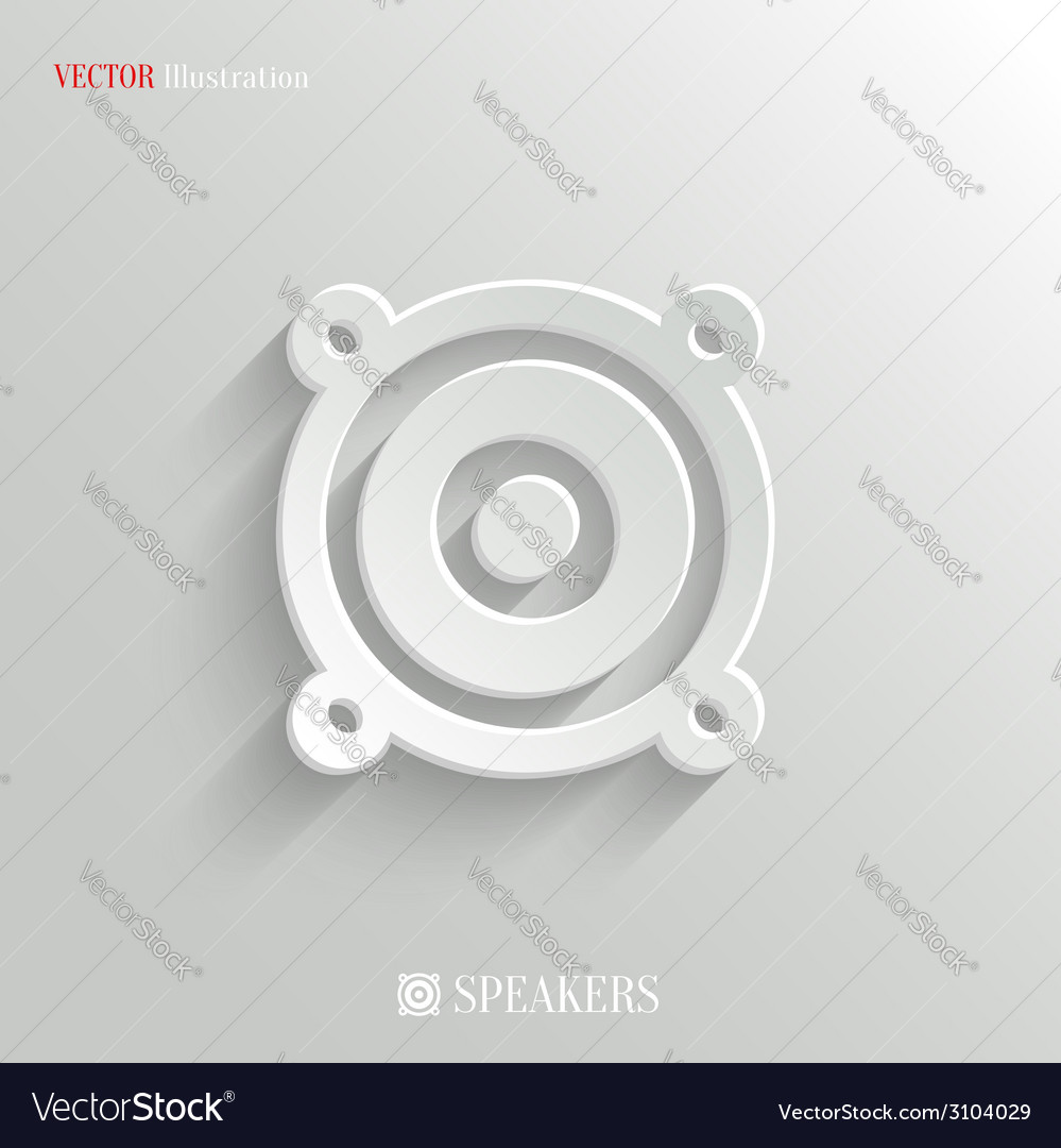 Audio speaker icon  white app button vector