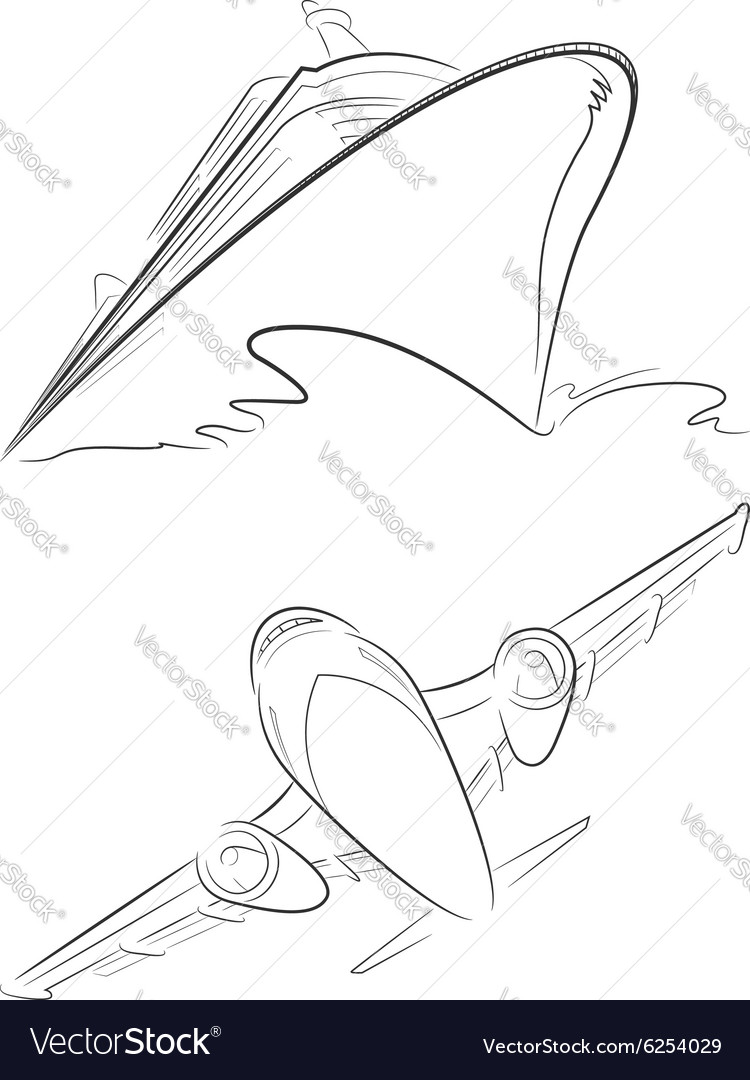 Cruise ship airplane outline vector