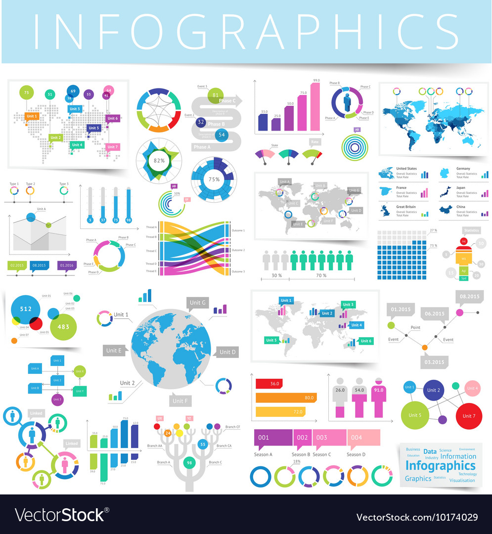 Infographics set blue vector
