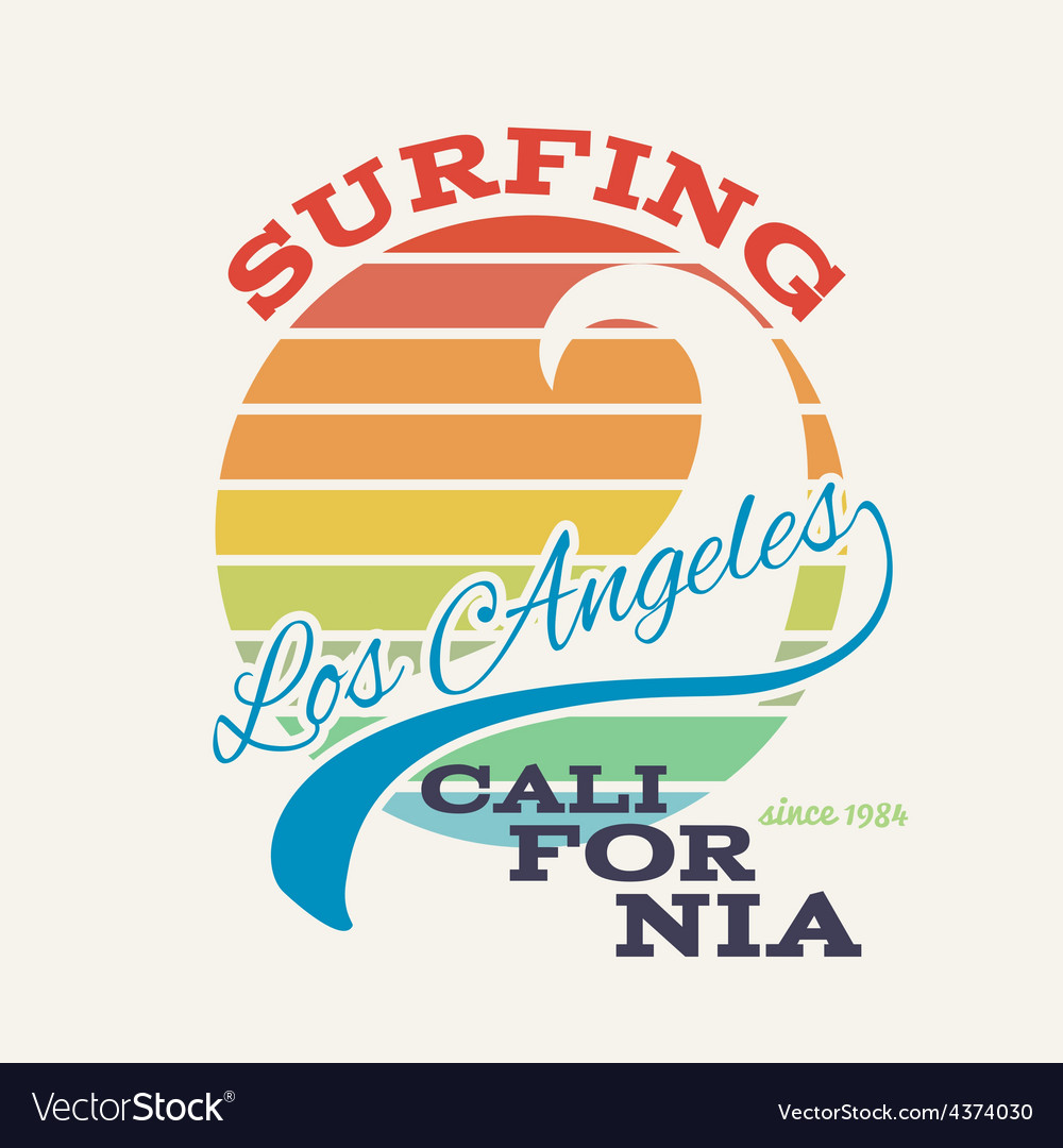 California surf tshirt graphics vector