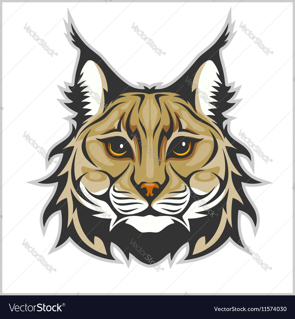Head of lynx isolated on white  mascot logo vector