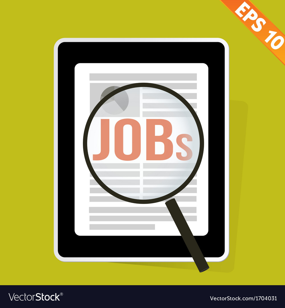 Magnifier enlarges job on tablet   eps10 vector