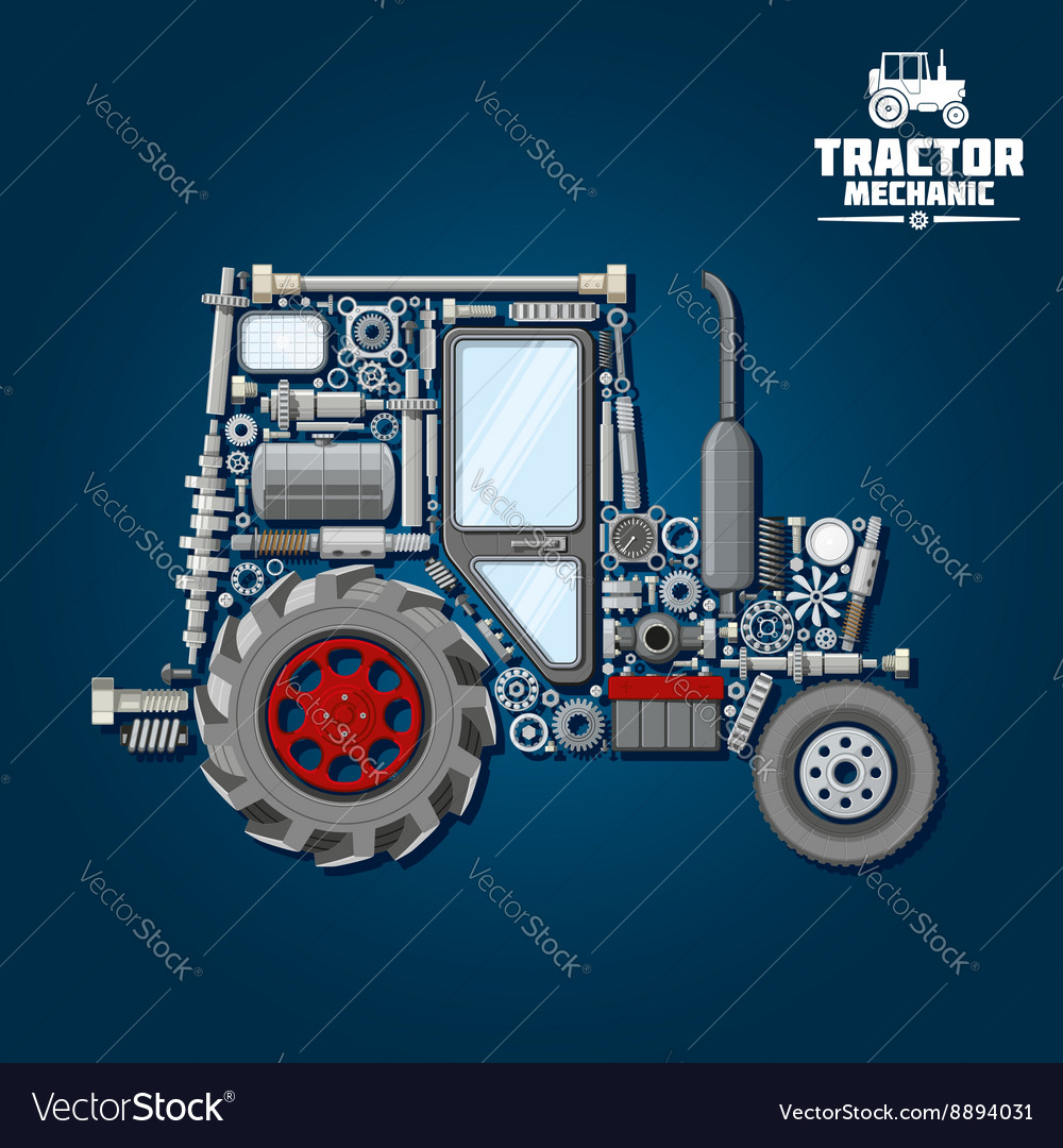 Tractor silhouette with mechanical parts icon vector