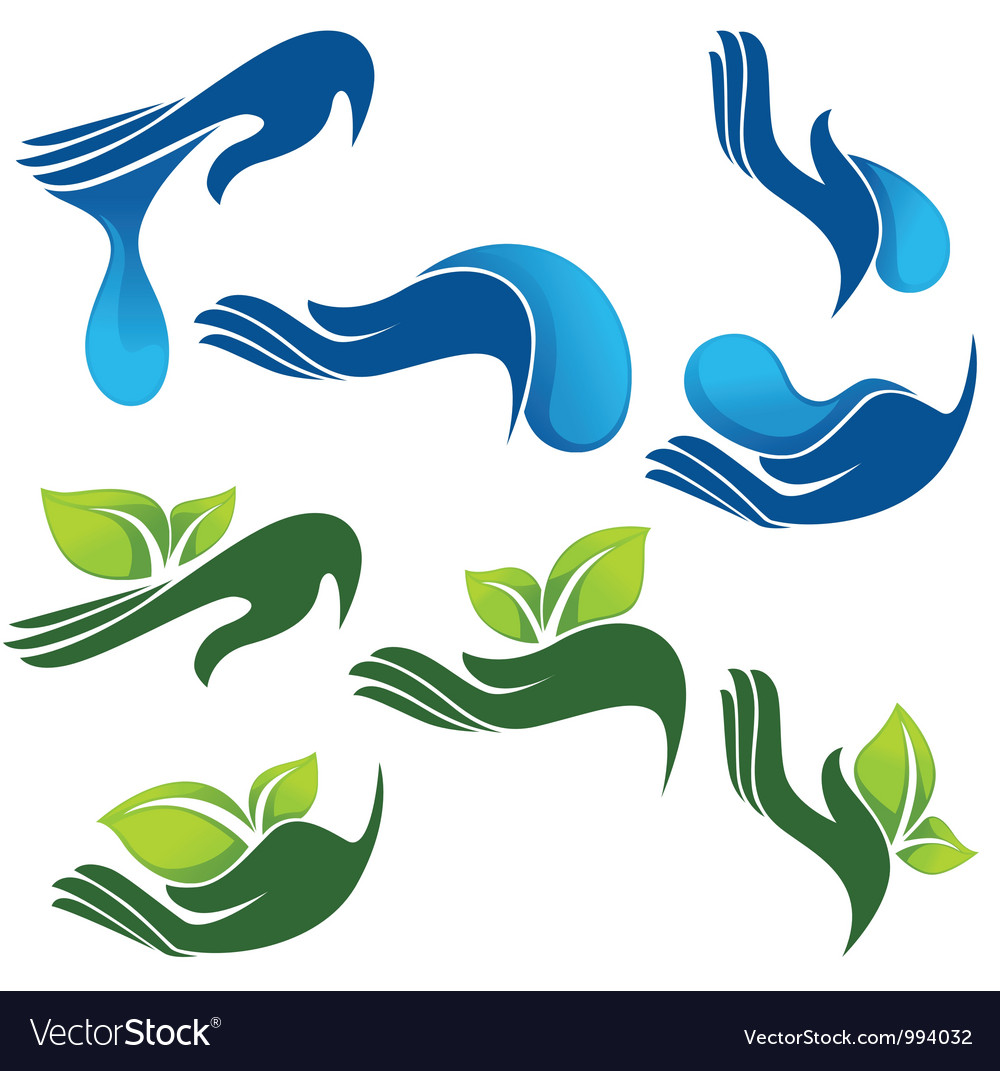 Collection of eco and beauty symbols vector
