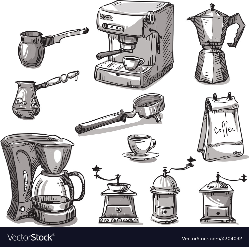 Set coffee making equipment vector