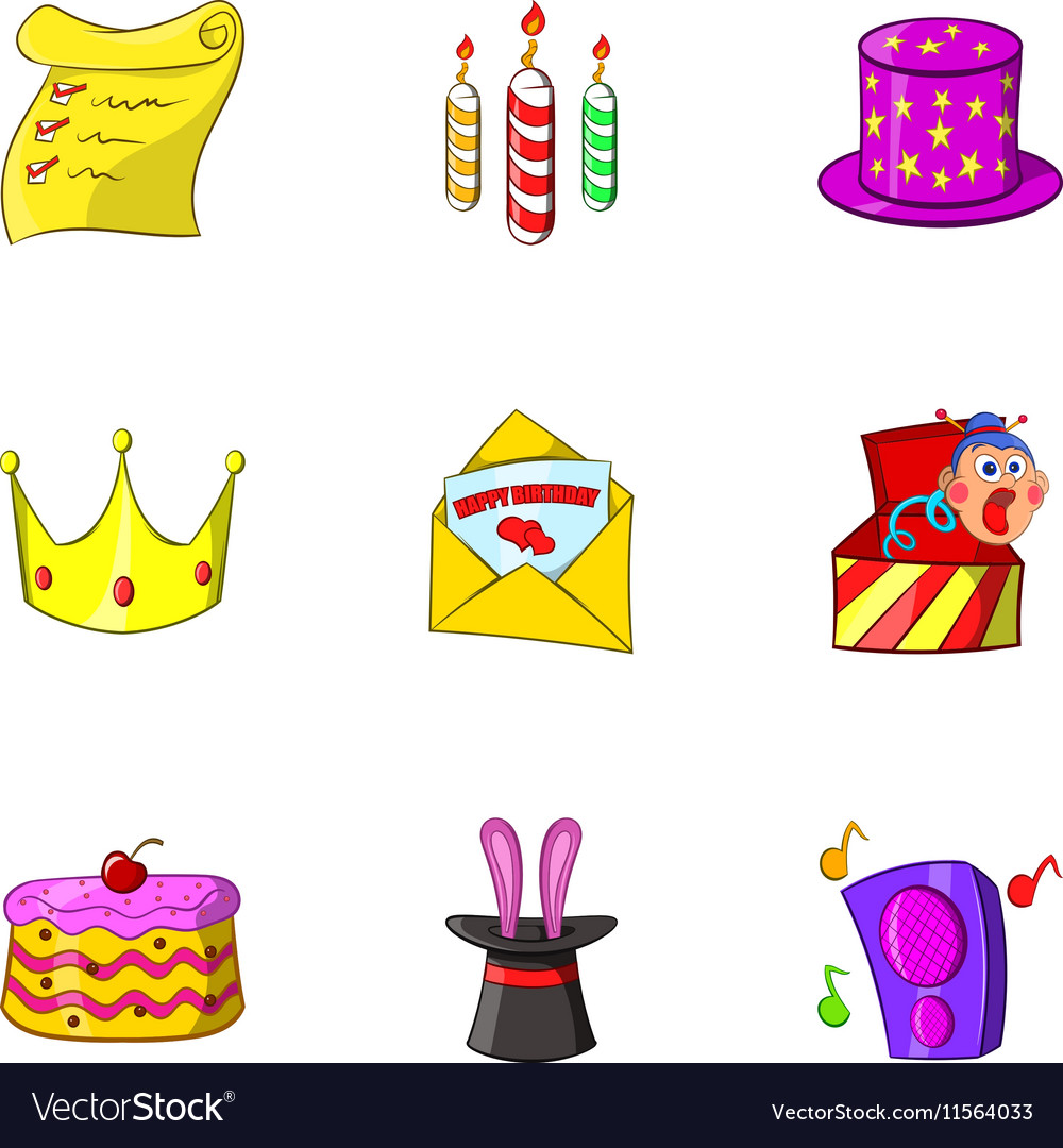 Birthday party icons set cartoon style vector