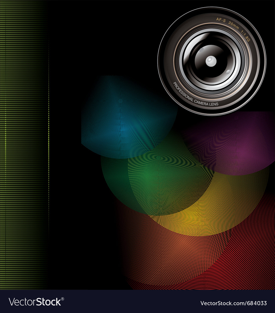 Camera lens background vector