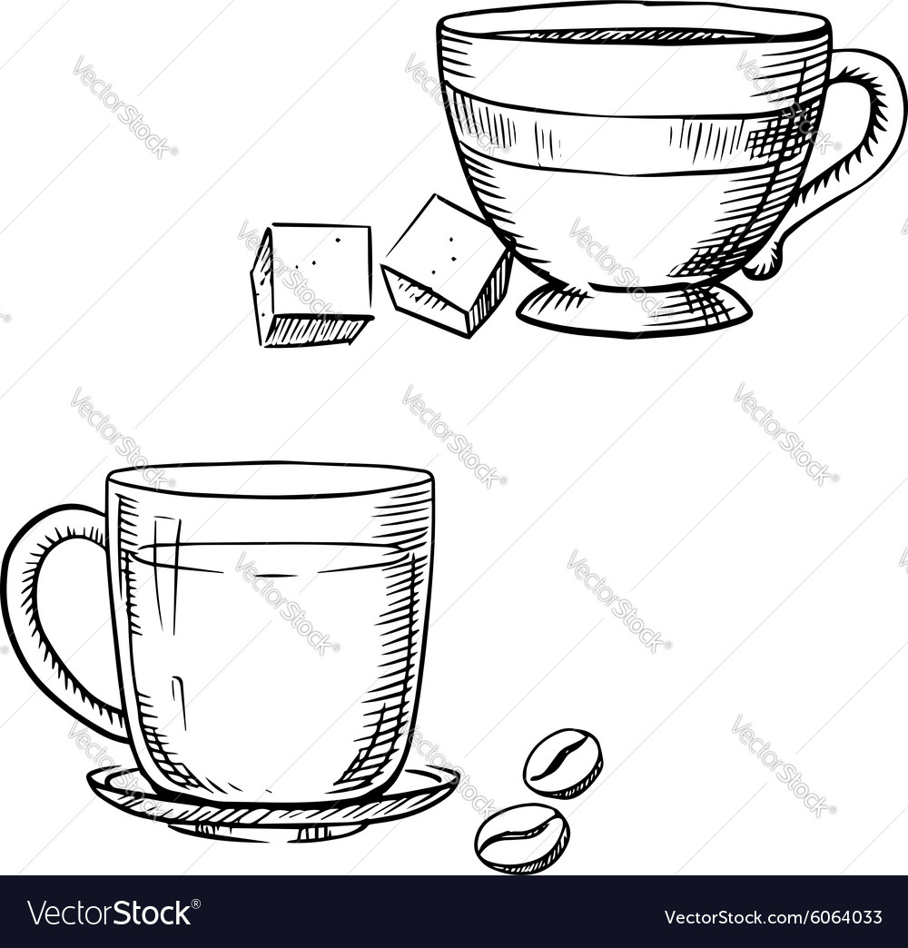 Cup of coffee with beans and tea with sugar vector