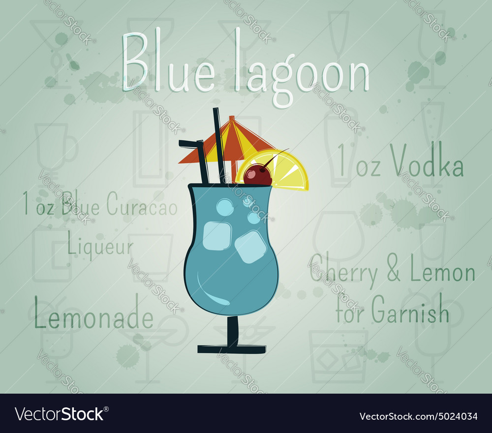 Blue lagoon cocktail banner and poster template vector