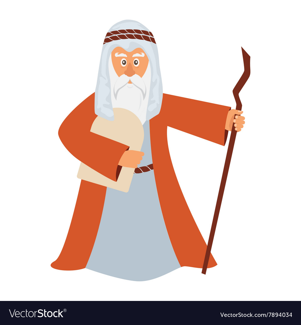 Moses standing for passover vector