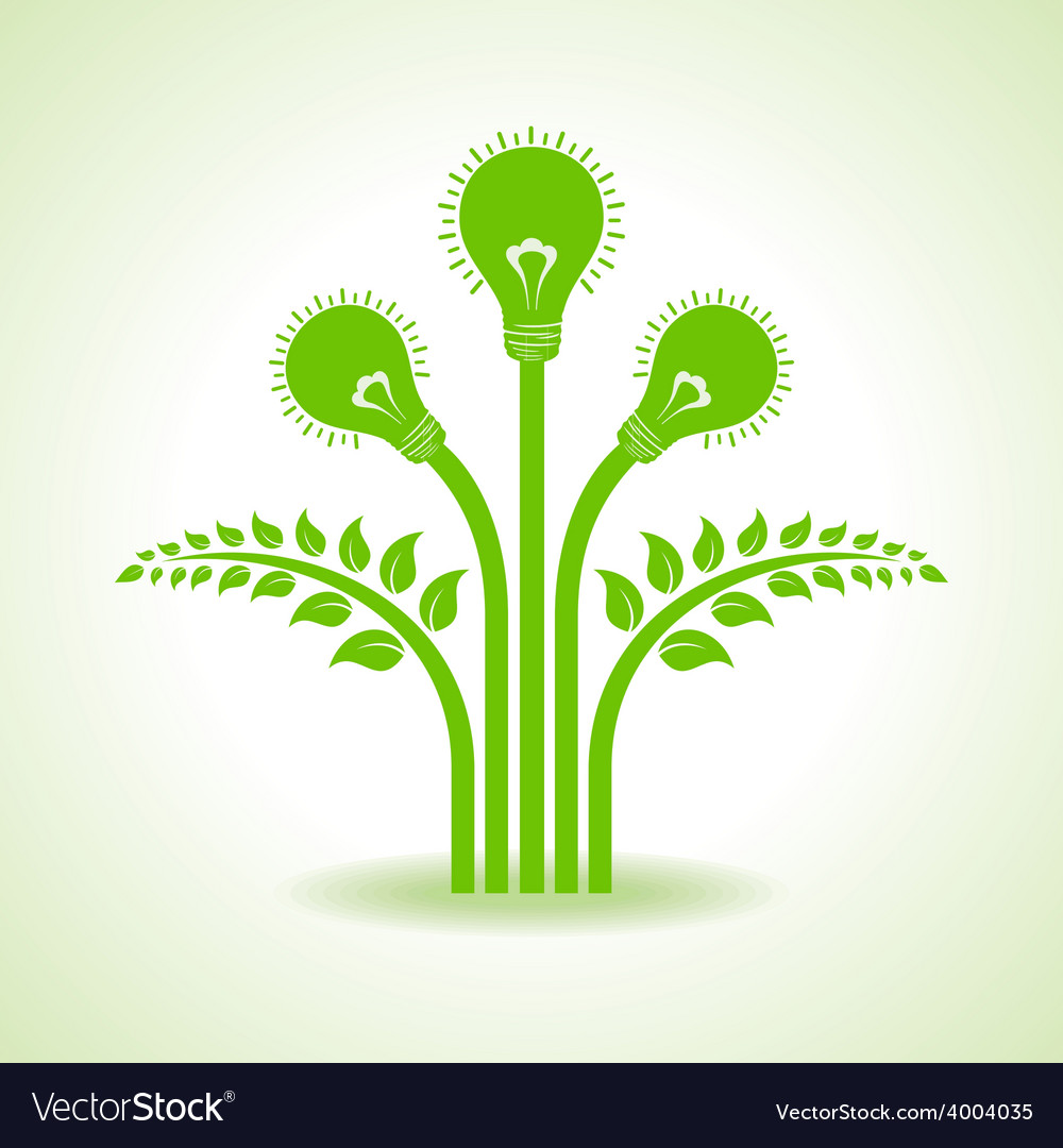 Green bulb with leaf inside on white background vector