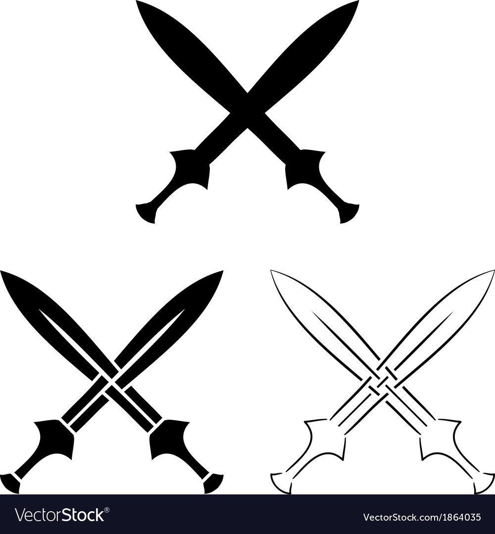 Set of crossed swords vector