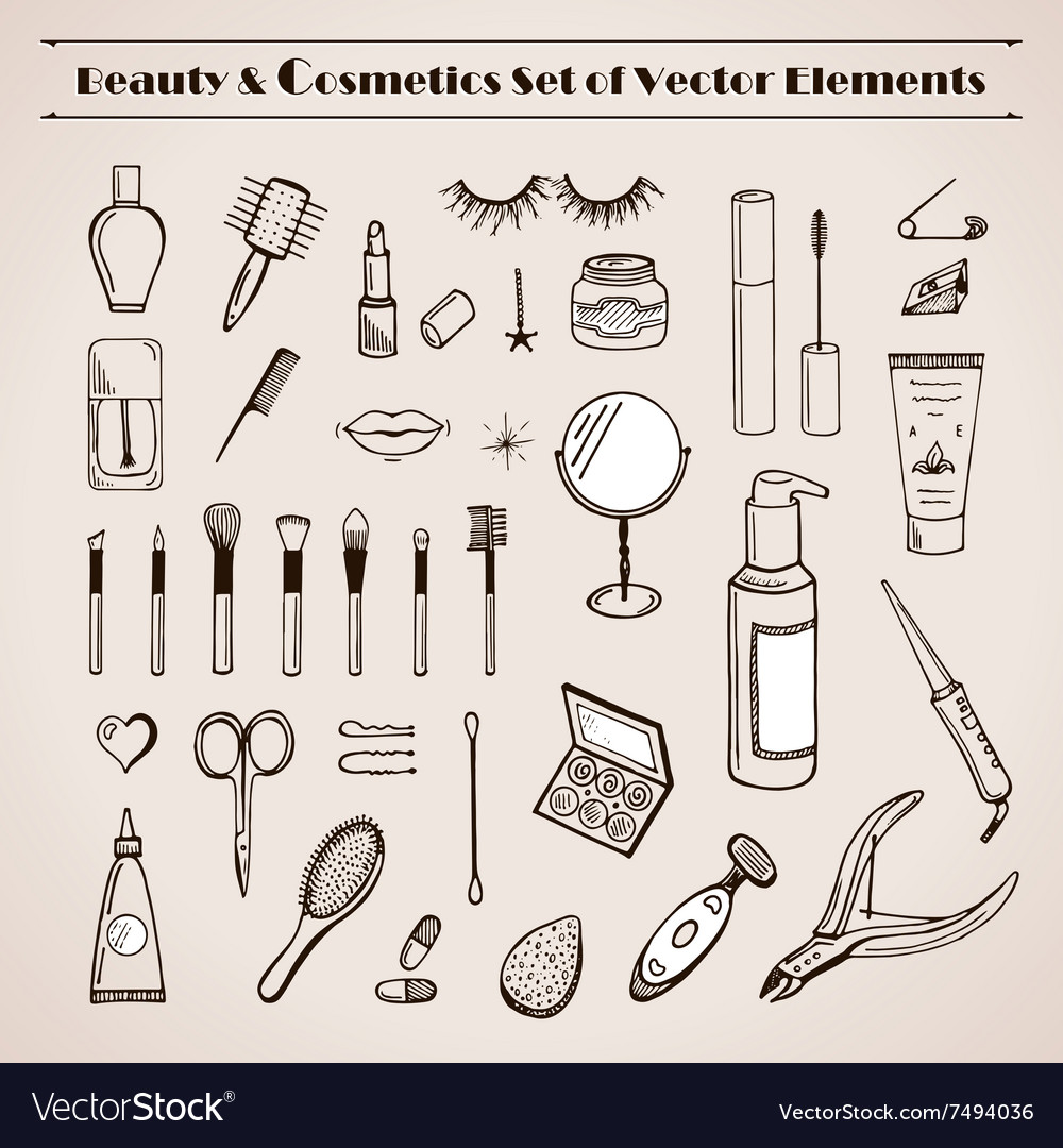 Beauty and cosmetics doodles icons vector