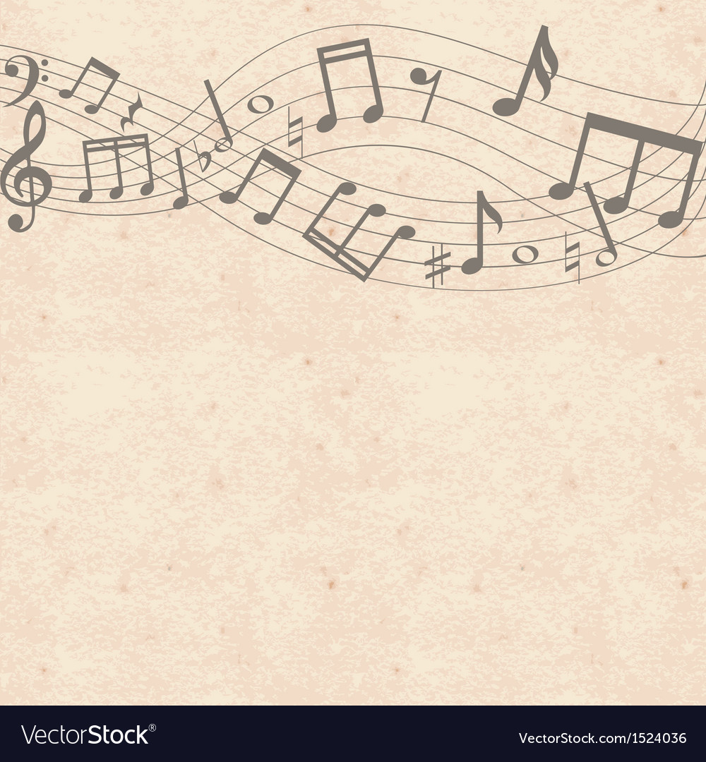 Old cardboard texture with music notes border vector