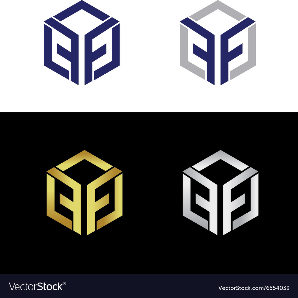 Geometric logo with reflected letter f vector