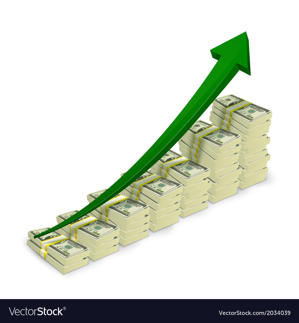 Money banknotes stacks rising graph vector