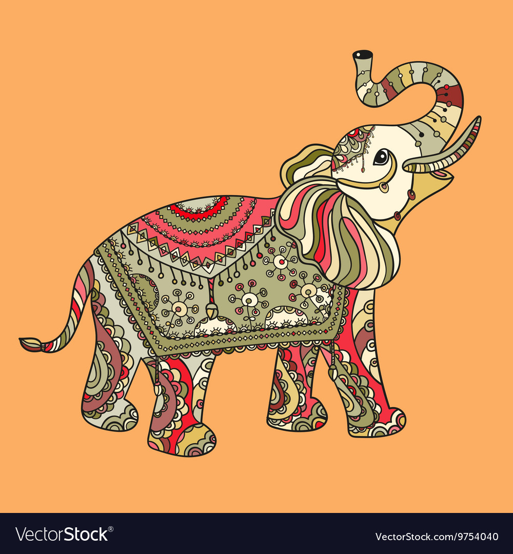 Stylized fantasy patterned elephant vector