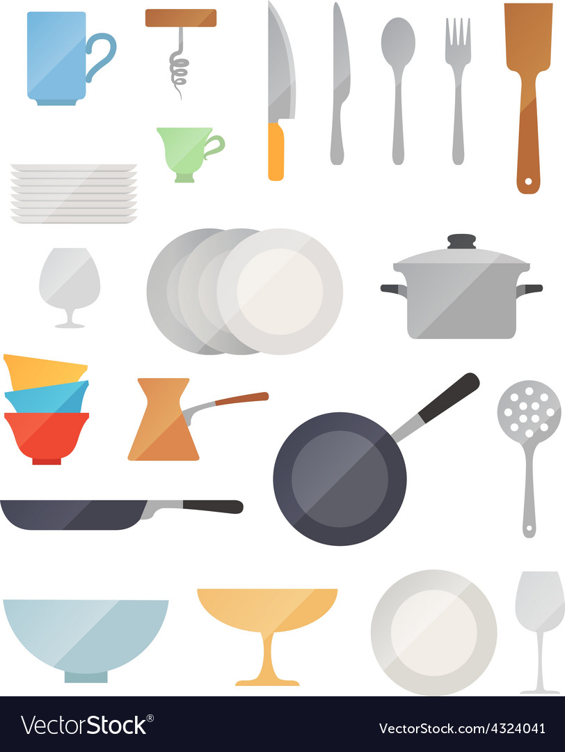 Dish flat set vector