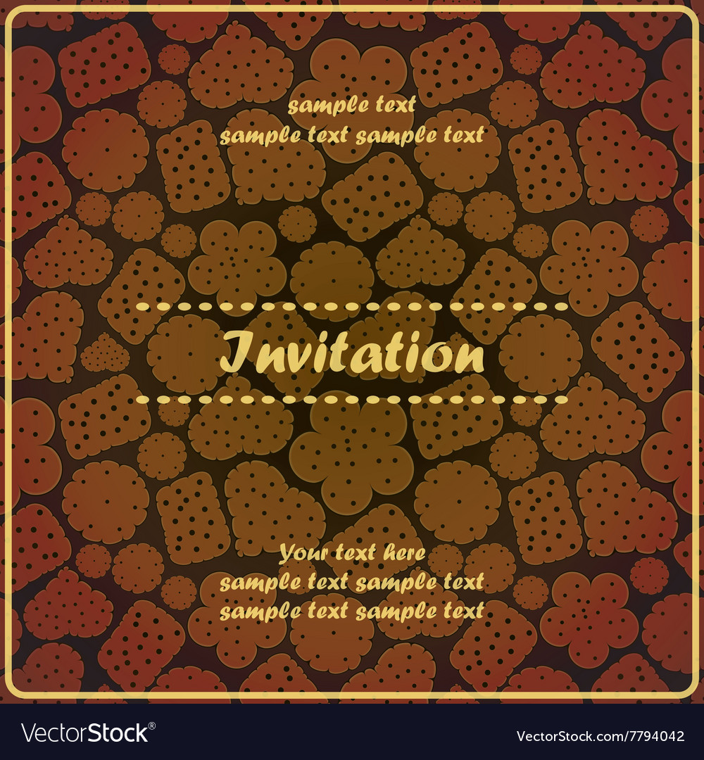 Invitation card with sweet cookies vector