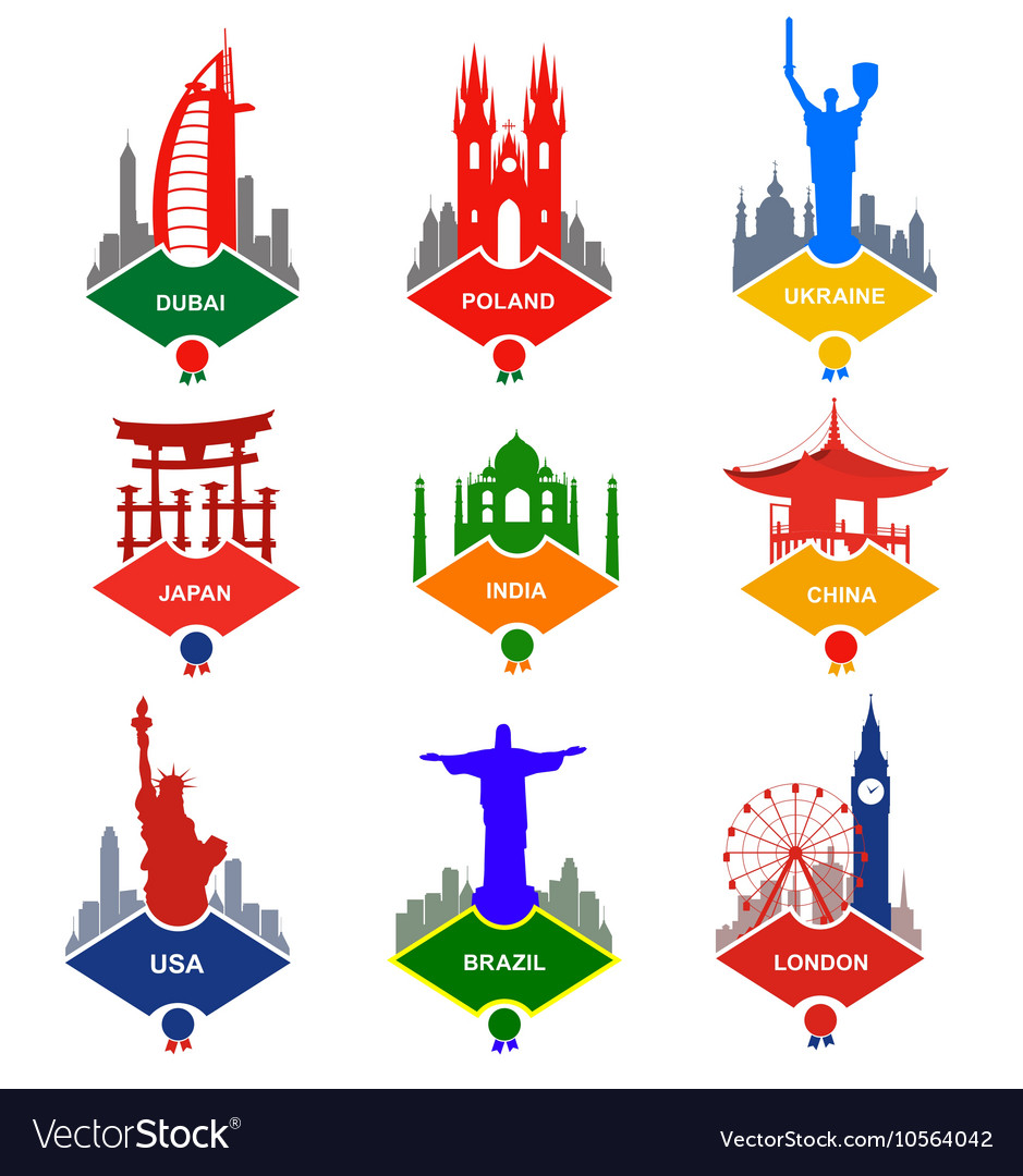 Set of stickers in different countries vector