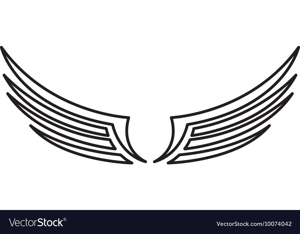 Wings angel drawn icon vector