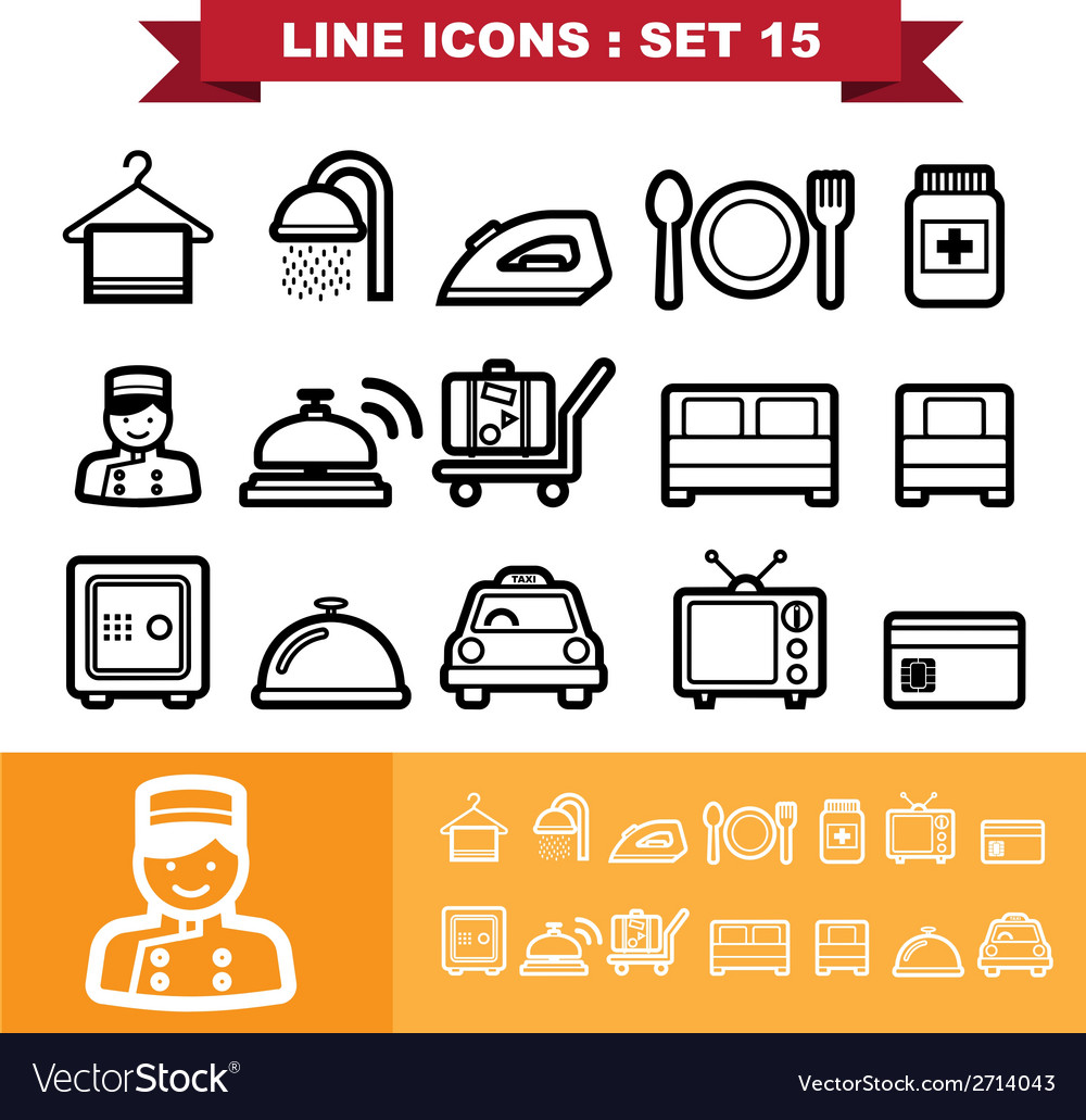 Line icons set 15 vector