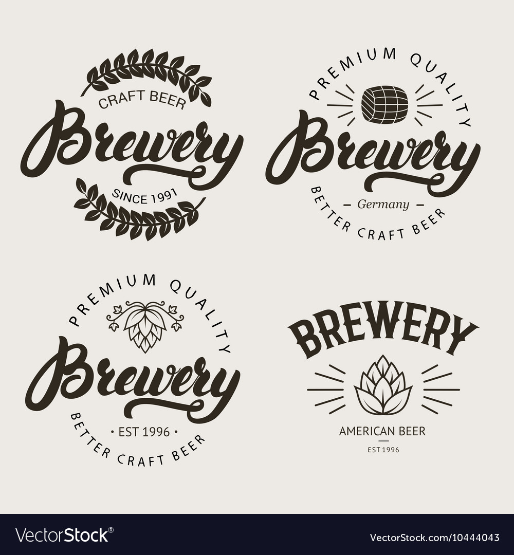 Set of vintage brewery badge label logo template vector
