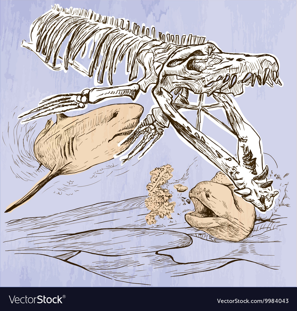 Underwater prehistory  an hand drawn vector