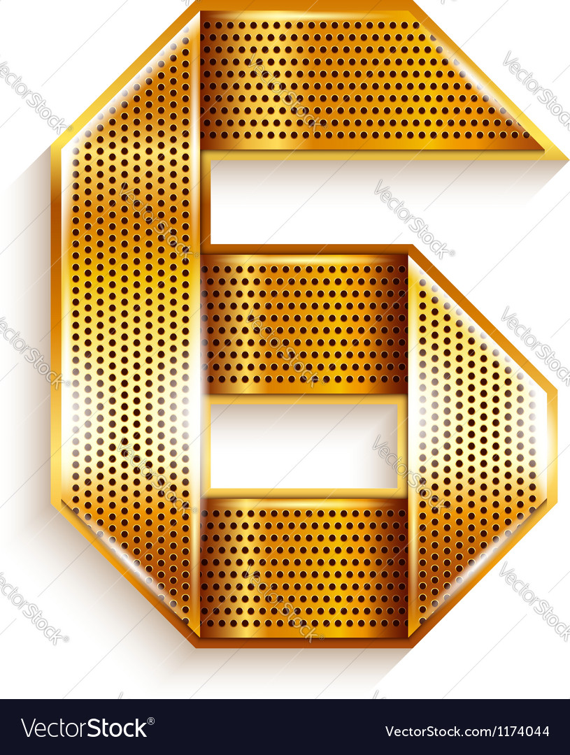 Number metal gold ribbon  6  six vector