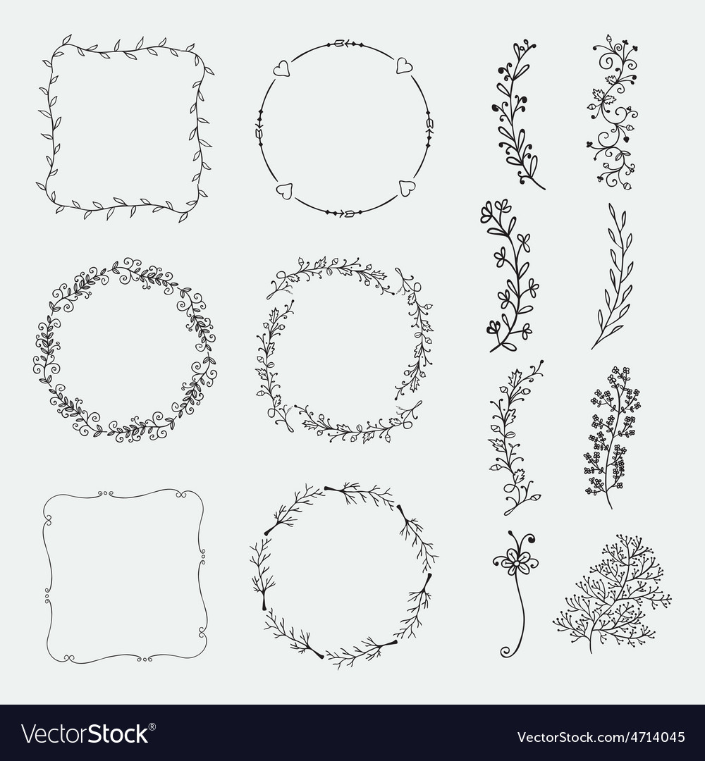 Hand sketched frames borders design vector