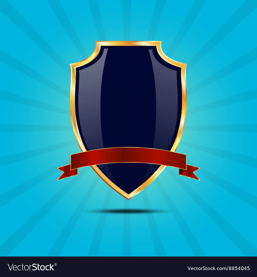 Metallic blue golden shield vector