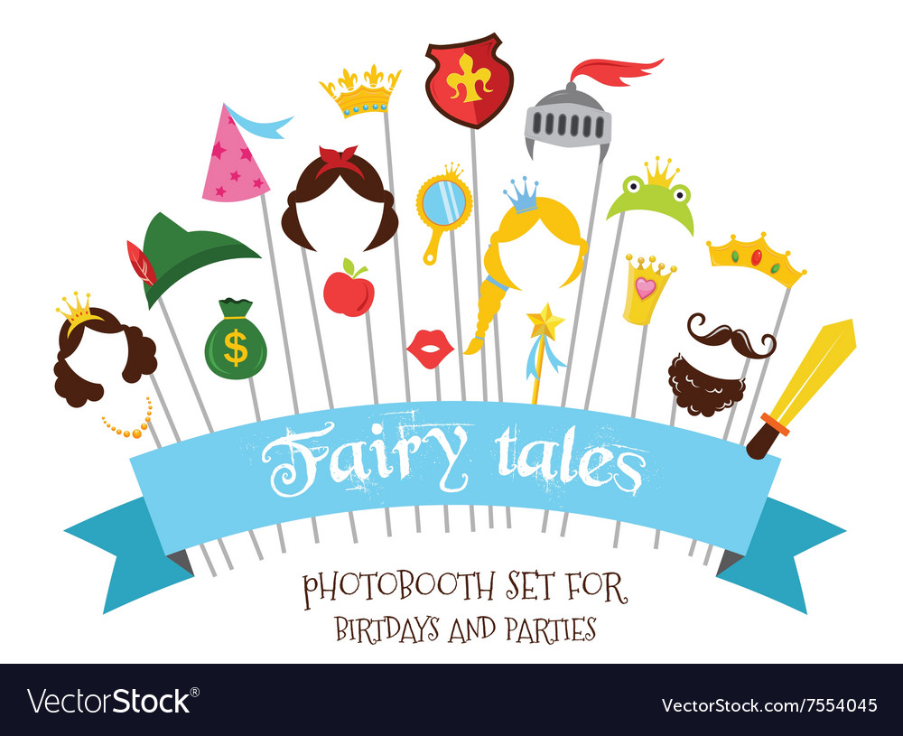 Prince and princess party set  photobooth props  vector